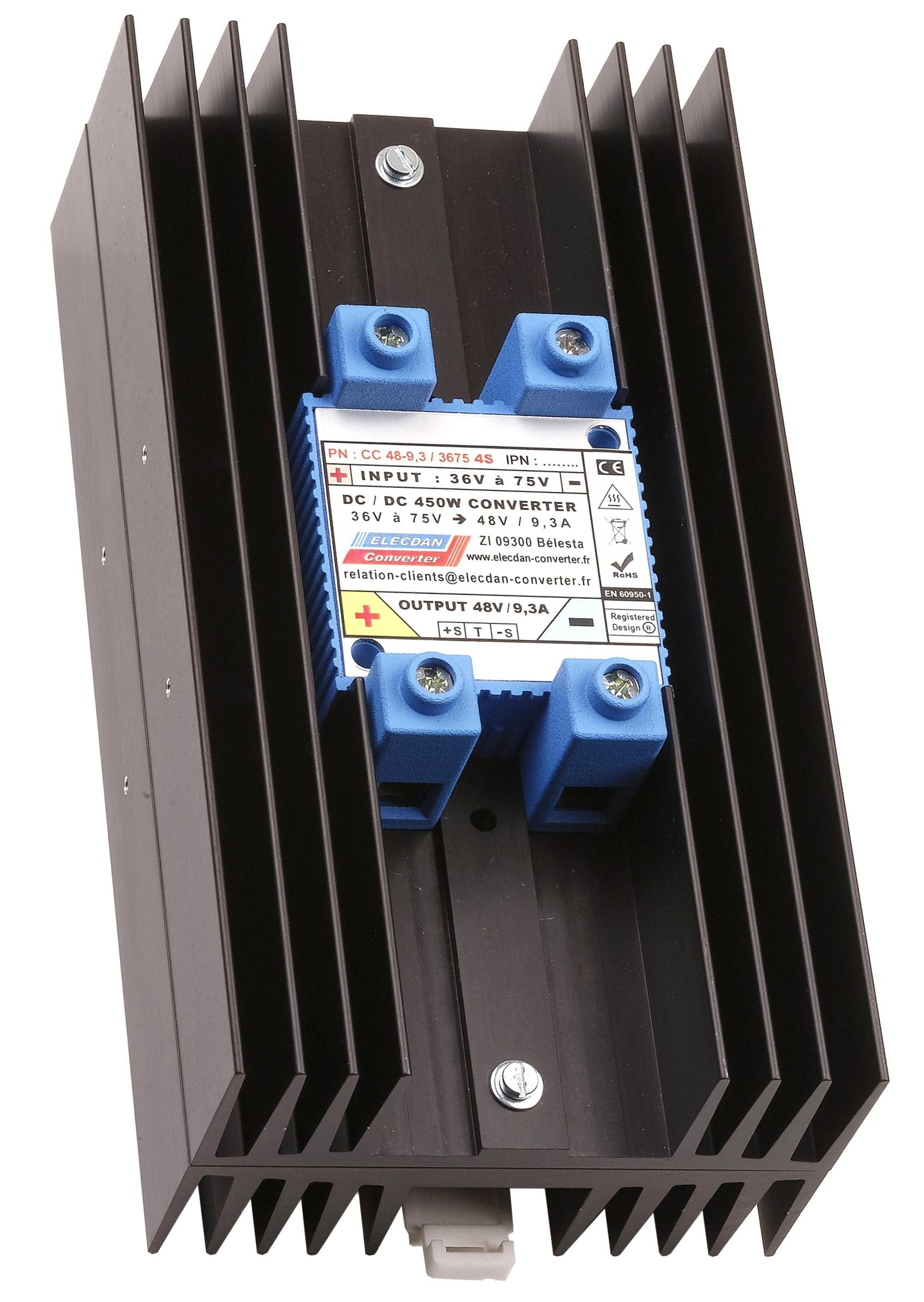 Convertisseurs de tensions 450W, dc/dc isolés entrée 36V à 75 V → sortie 48V/9.3A - Réf. CC 48-9,3 / 3675