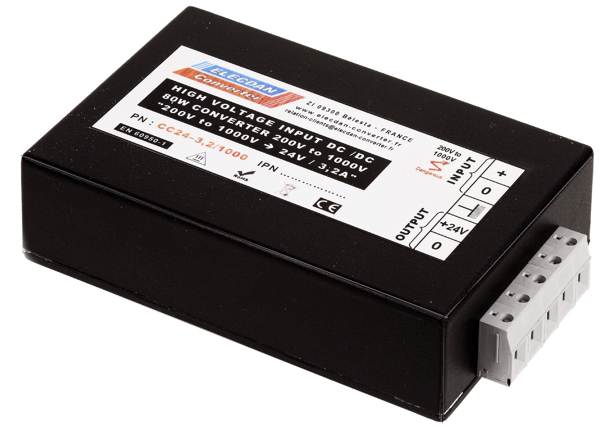 Convertisseur de tension 80W à très haute tension d'entrée 200 à 1000V , sortie 24V/3,2A réf. CC 24-3,2/ 1000 Boîtier aluminium montable sur paroi ou rail din Longueur  : 145 mm + 11 Largeur : 95 mm Epaisseur : 40 mm