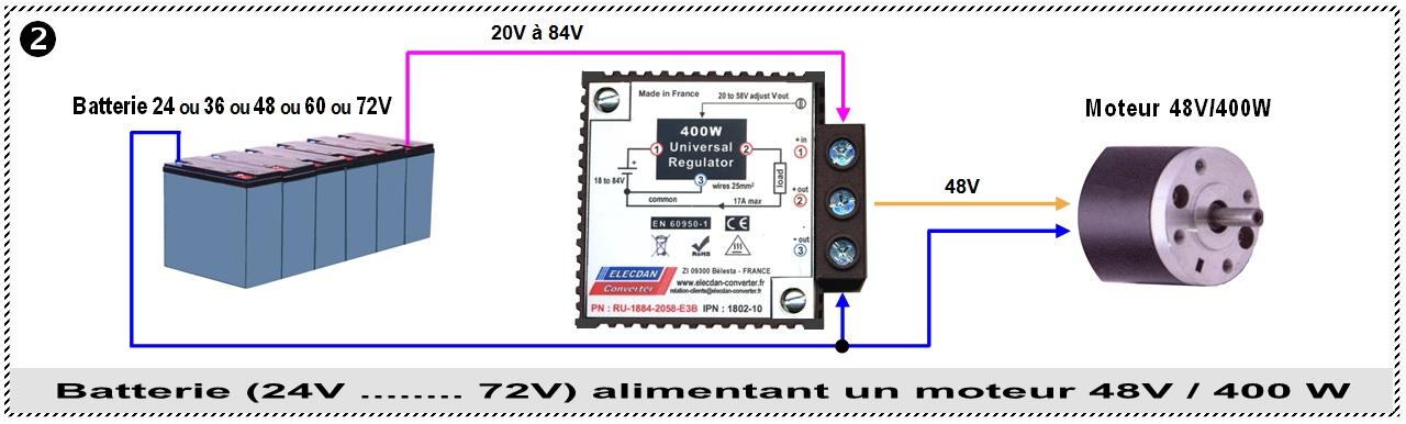 Exemple 2 d'application avec le régulateur élévateur abaisseur 400W